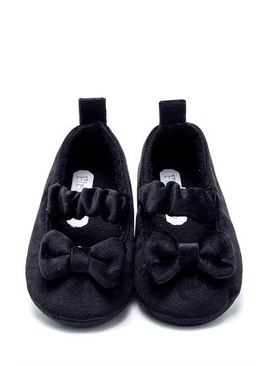 First Step Kadife Babet Esnek ve Kaydırmaz İlk Adım Ayakkabısı  F-528 Siyah